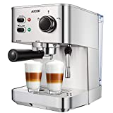 Espresso Machine, Cappuccino Coffee Maker with Milk Steamer Frother, 15 Bar Pump Latte and Moka Machine, Stainless Steel, Warm Top for Cup Placing, 1050W, by AICOK