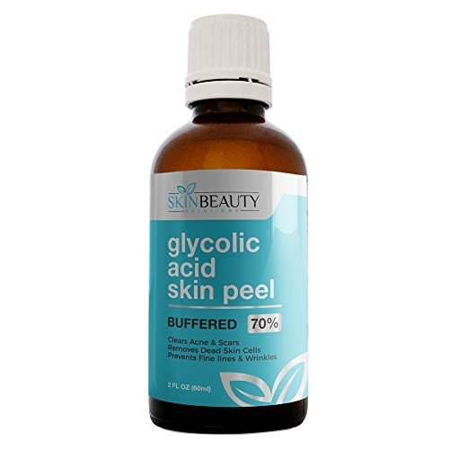 GLYCOLIC Acid 70% Skin Chemical Peel - BUFFERED - Alpha Hydroxy (AHA) For Acne, Oily Skin, Wrinkles, Blackheads, Large Pores,Dull Skin… (4oz/120ml)