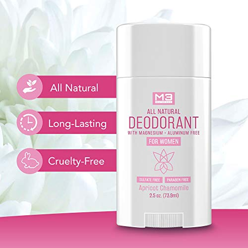 M3 Naturals All Natural Deodorant for Women with Magnesium, Apricot and Chamomile - Long-Lasting, Non-Toxic, Free of Aluminum, Baking Soda, Parabens, Sulfates and Gluten – Vegan, Organic 2.5 oz 5