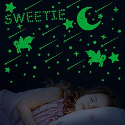 382 Pcs Glow in The Dark Stars Wall Stickers, Glowing Stars for Ceiling and Wall Decals, 3D Glowing Stars Moon Unicorn for Kids Boys Girls Bedding Room Decoration or Party Birthday Gift