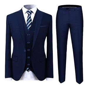 Cloudstyle-Mens-Suit-Solid-Color-Formal-Business-One-Button-3-Piece-Suit-Wedding-Slim-Fit