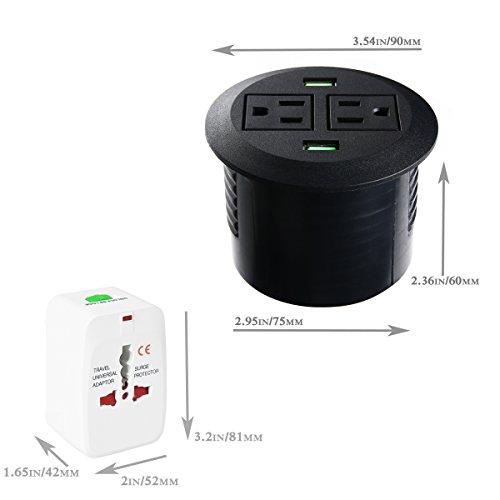 Power Grommet, Desktop Power Outlet 2 US Plugs & 2 USB Ports ...