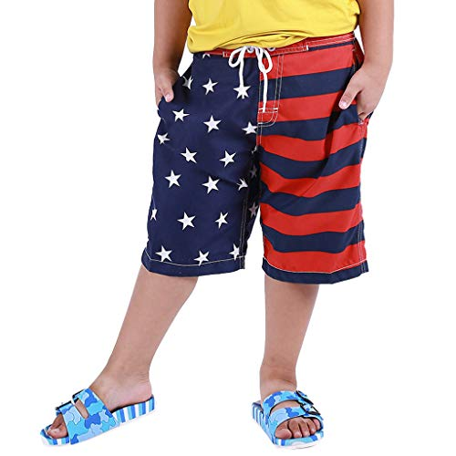 drindf Baby Clothes Independence day Toddler Boy Swim Trunk, July 4th Trunk American Flag Swim Shorts for Kid Swimtrunk 4-6Y Red