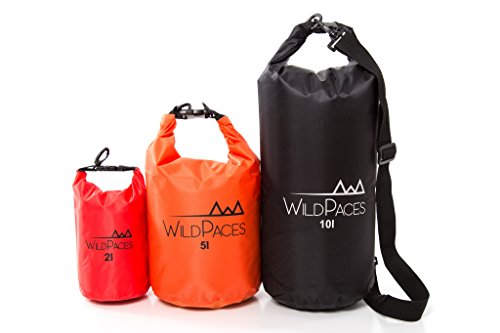 WildPaces Super Value Set of 3 All Purpose Waterproof Dry Bags 10L 5L 2L for Swimming Running Cycling Biking Camping Hiking Beach Boating Kayaking Skiing with 1 Adjustable Shoulder Strap