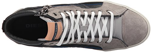 High-top shoe featuring mixed leather-and-suede upper with quilting at tongue and collar Side zip closure