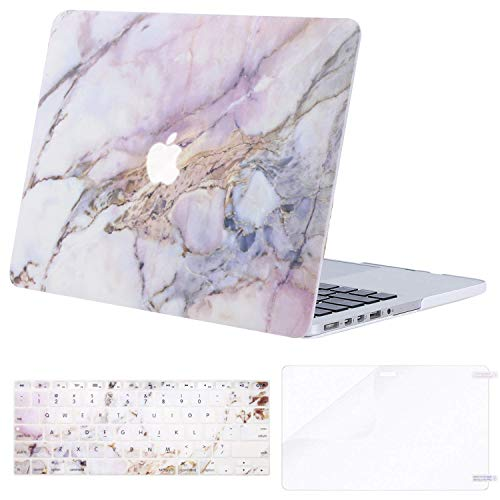 MOSISO Case Only Compatible Older Version MacBook Pro Retina 13 Inch (Model: A1502 & A1425)(Release 2015 - end 2012), Plastic Pattern Hard Shell & Keyboard Cover & Screen Protector,Colorful Marble