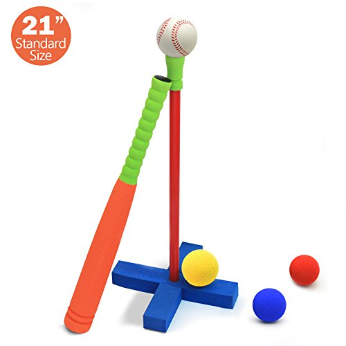CELEMOON 21-Inch Kids Soft Foam T Ball Baseball Set Toy, 4 Different Colored Balls, Carry/Organize Bag Included, for Kids Over 3 Years Old