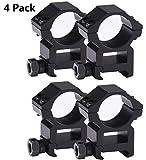 Tenako 4 Pack Scope Rings 1 Inch High Profile Scope Mounts for Picatinny Weaver Rail