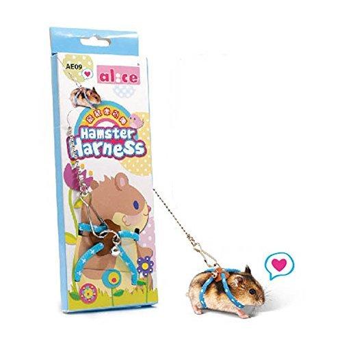 Adjustable Nylon Harness Vest and Leash Set Lead for Pet Dwarf Hamster Gerbil Rat Mouse Ferret Chinchilla Ferret Squirrel Small Animal Walking Toy 1