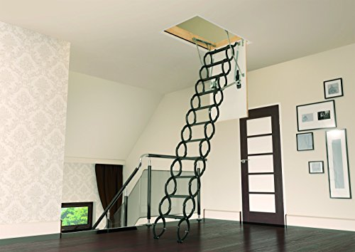FAKRO LST  860432 Insulated Steel Scissor Attic Ladder for 27-Inch x 31-Inch Rough Openings