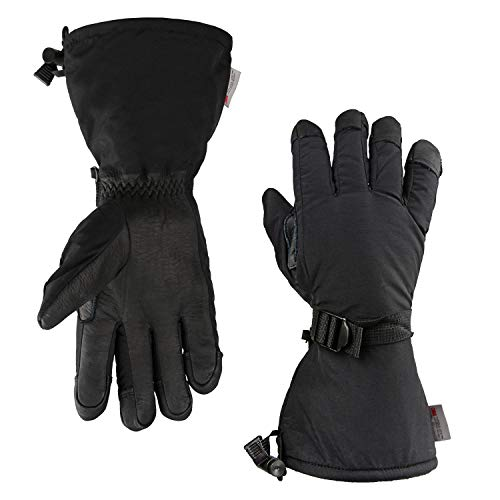 OZERO Cold Weather Gloves Gloves, -40°F Cold Proof Ski Glove - 150g 3M Thinsulate Insulated Cotton & 5-inch Long Sleeve - Waterproof Nylon & Cowhide Leather Palm & Good Grip for Men & Women - Black/XL
