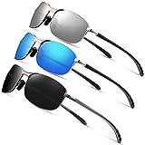 Rectangular Sport Polarized Sunglasses for Men - Feirdio Mens Sunglasses Sports Metal Frame 100% UV protection 2268 (3pack(blue+black+silver), 2.24)