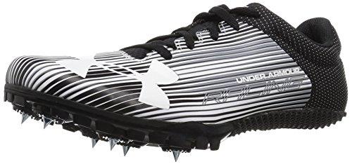 Under Armour Men's Kick Sprint Spike Running Shoe, White (100)/Black, 8.5