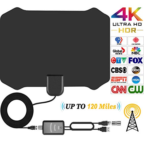TV Antenna for Digital TV Indoor HDTV Antenna With 120 Miles Long Range Support 4K 1080p,All Types TV's With Powerful Detachable Amplifier Signal Booster, Power Adapter,Long Coax Cable [2018 Upgraded]