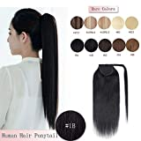 100% Remy Human Hair Ponytail Extension Wrap Around One Piece Hairpiece With Clip in Comb Binding Pony Tail Extension For Girl Lady Women Long Straight #1B Natural Black 18'' 90g