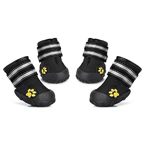 Petacc 4 Piece Dog Shoes Waterproof Dog Boots Anti-Slip Snow Boots Warm Paw Protector for Medium/Large Dogs Labrador Husky Shoes (5(2.7'x2.2'), Black)
