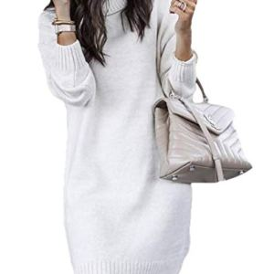WSPLYSPJY Women's Long Sleeve Turtleneck Knit Thick Pullover Sweater Dress