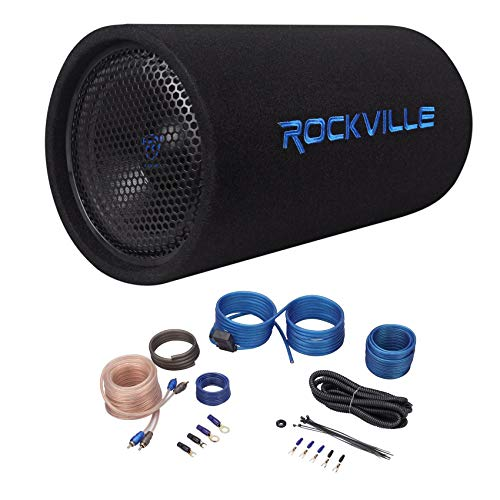 Rockville RTB10A 10' 500w Powered Subwoofer Bass Tube+Bass Remote + Amp Kit