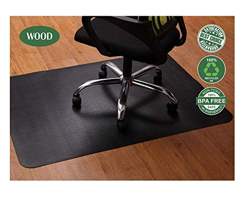 Office Chair Mat for Hardwood and Tile Floor, Black, Anti-Slip, Under the Desk Mat Best for Rolling Chair and Computer Desk, 47 x 35 Rectangular Non-Toxic and No BPA Plastic Protector, Not for Carpets
