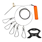 Hunter's Tail Fish Stringer, Wade Fishing Stringer Clip Heavy Duty Large Stainless Steel Fish Lock Cable 5 Snaps