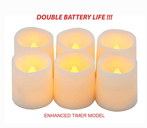 Festival Delights Timer Flameless Candles By Premium IC-controlled Soft Flickering Votive Battery Operated Candles, 150+ Hours of Lighting, 5H Timer, Battery included, Dia. 1.5'x1.75'H