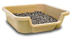 Kitty-Go-Here-Senior-Cat-Litter-Box-for-Cats-who-Cant-cope-with-a-Traditional-Litter-Box-Small-Size-20x15x5-Sand-Color-See-Size-Diagram-Opening-on-15-Side-USA-Made