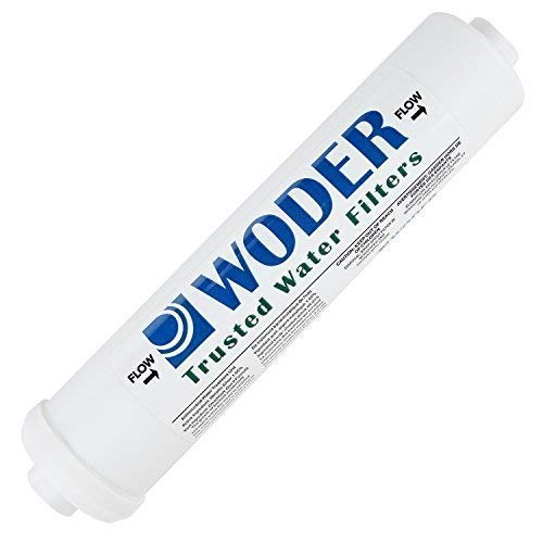 """Woder 10K-JG-1/4 Ultra High Capacity Inline Water Filter – 3 Years or 10K Gals - USA Made - with 1/4' Built-in (Welded) JG Fittings – Fits All Unbraided ¼"""" PVC or 1/8"""" PEX"""