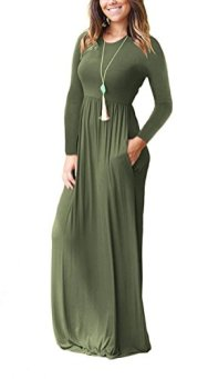 Women Long Sleeve Loose Plain Maxi Dresses Casual Long Dresses with Pockets