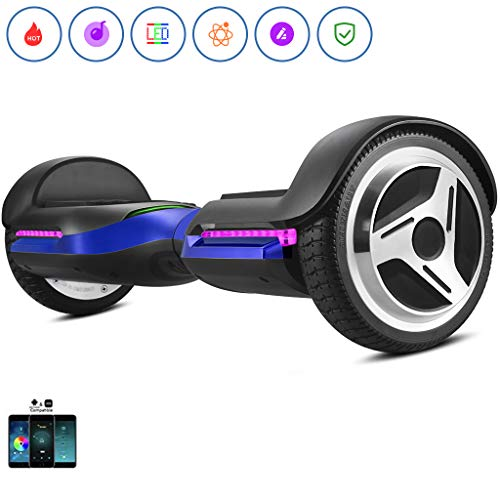 Spadger G1 Premium Hoverboard Auto-Balancing Wheel Bluetooth Speaker & LED Lights Pro - Smart App Available [Blue]