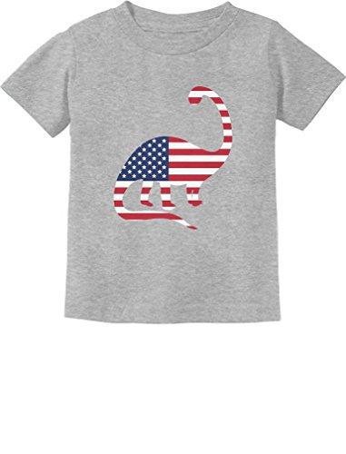 USA Dinosaur American Flag 4th of July Gift Toddler/Infant Kids T-Shirt 5/6 Gray