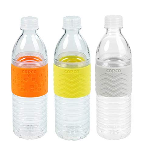 Copco Hydra Reusable Tritan Water Bottle Spill Resistant Lid Non-Slip Sleeve, 3 Pack (Orange, Yellow, Gray, 16.9 Ounce)