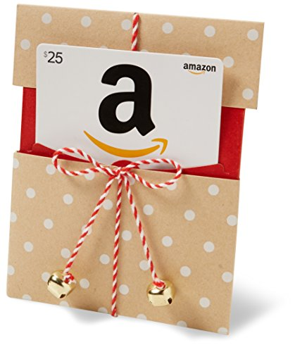 Amazon.com $25 Gift Card in a Kraft Paper Reveal with Jingle Bells