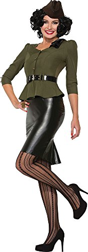 Ladies 40's Retro Army Military Pin-up Fancy Dress Outfit Missile Millie Costume