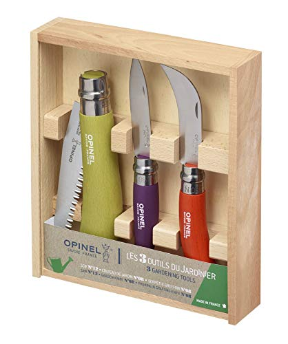 Opinel 3-in-1 Gardener's Tool Wooden Box with N Degree12 Apple Green Handle Saw Knife