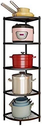 5-Tier Kitchen Corner Shelf Rack, Multi-Layer Pot Rack Storage Organizer Stainless Steel Shelves Shelf Holder