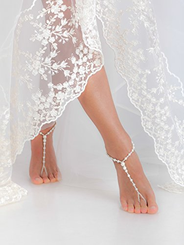 60e2be910f0c9 Beaded Barefoot sandals Bridal foot jewelry Rhinestone and Pearl Beach  wedding Barefoot Sandals Bridal accessory Foot jewelry Wedding shoes