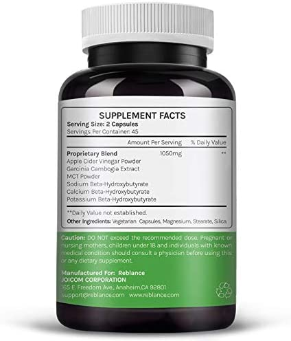 Organic Apple Cider Vinegar Capsules (90 Capsules | 1050 mg) with Garcinia cambogia + BHB Salts Keto Diet Pills with MCT Oil | ACV Pills | Detox Supplement for Women Men Support for Gut Health & Detox 2