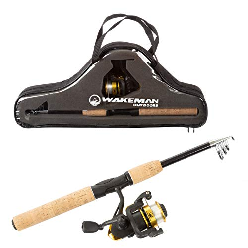 Wakeman Outdoors Fishing Pole - Telescopic 5.5-Foot Carbon Fiber and Cork Rod and Ambidextrous Reel Combo with Carry Case for Lake, Pond or River