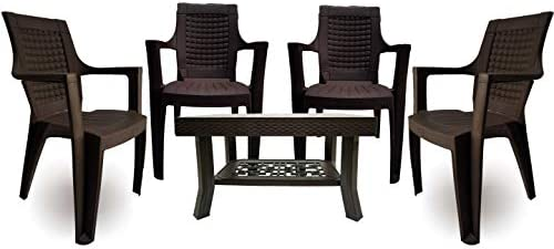 Binani Furniture – Armchair and Table Combo – Indoor and Outdoor Furniture Set (Jumbo, Brown, Set of 4 Chairs)