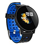 CZYCO Classic Wtach Design Smart Watch Bluetooth Waterproof Sport Blood Heart Rate Tracker Bracelet With Rich Function (Blue)