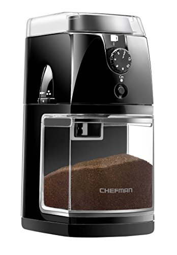 Chefman Coffee Grinder / Electric Burr Freshly Grinds Up to 8 oz Beans,  Nuts, Seeds, Herbs, & Spices, Large Hopper and 17 Grinding Options for 2-12