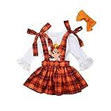3PCS Toddler Baby Girls Thanksgiving Outfit Ruffle Sleeve Little Turkey Tops+Suspender Plaid Skirt Set White
