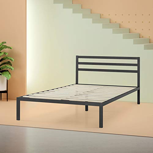 Zinus Mia Modern Studio 14 Inch Platform 1500H Metal Bed Frame / Mattress Foundation / Wooden Slat Support / With Headboard / Good Design Award Winner, Queen