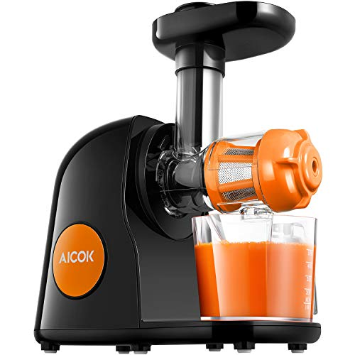 Juicer Masticating Slow Juicer, Aicok Commercial Juicer Quiet Motor & Reverse Function, Cold Press Juicer Easy to Clean with Brush, Juice Machine for Vegetables and Fruits