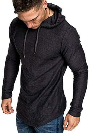 lexiart Mens Fashion Athletic Hoodies Sport Sweatshirt Solid Color Fleece Pullover