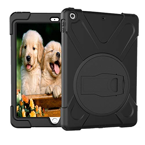 iPad 2018 Case, iPad 6th Generation Case, iPad 9.7 Inch Case,Hybrid Shockproof Rugged Drop Protection Cover Built With Kickstand for New iPad 9.7 inch A1893/A1954/A1822,/A1823 (Black)