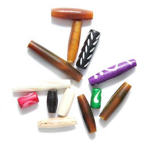 Shipwreck Beads India Bone/Horn Hair Pipe Bead Mix, Assorted, 150-Pack