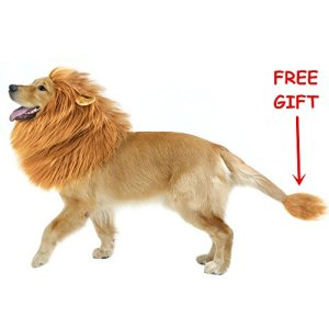 CPPSLEE Halloween Lion Mane Wig Costume – Make Your Dog Lion King – Adjustable Washable Comfortable Fancy Lion Hair Dog Clothes Dress for Halloween