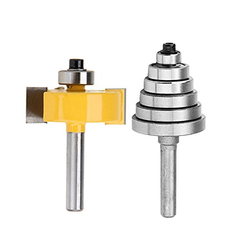 Yakamoz 1/4 Inch Shank Rabbet Router Bit with 6 Bearings Set | 1/8', 1/4', 5/16', 3/8', 7/16', 1/2' Bearings