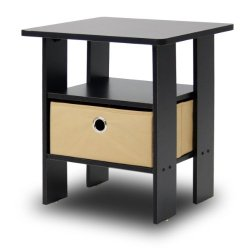 Furinno End Table Bedroom Night Stand w/Bin Drawer, Espresso/Brown